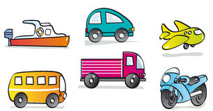 Motor vehicles. Boat car plane bus truck and motorcycle Royalty Free Stock Image