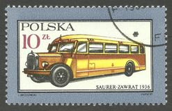Motor Vehicles, Omnibus. Poland - stamp printed 1987, Multicolor Memorable Edition, Topic Means of transport, Series Motor Vehicles, Omnibus 1936  Saurer Zawrat Stock Image