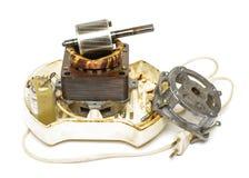 Motor velho do juicer deconstructed isolado foto de stock