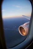 Motor, vuelo y recorrido del plano Imágenes de archivo libres de regalías