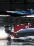 Motor water racing. On a collision course Stock Photography