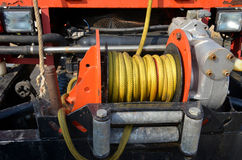 Motor 4wd yellow rope cable capstand Royalty Free Stock Photos