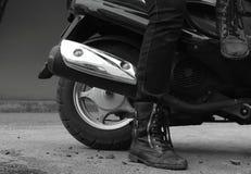 Motor & Wheels. Boots Biker Black and White Stock Image