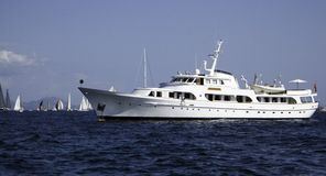 Motor Yacht. Secret Love moored in a bay Royalty Free Stock Photos