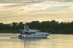 Motor yacht stock image
