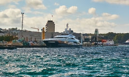 Motor Yacht Ann G in port Royalty Free Stock Photography