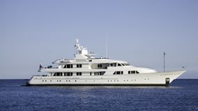 Motor Yacht Barbara Jean. A 2001 build Feadship of 56 m by De Vries anchored in the bay of Beaulieu Stock Photography