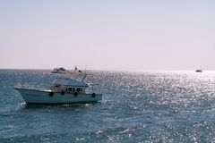 Motor yacht boat in red sea Stock Photos