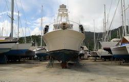 Motor yacht in boatyard Royalty Free Stock Photos