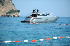 Motor Yacht Close By The Coast Stock Photos