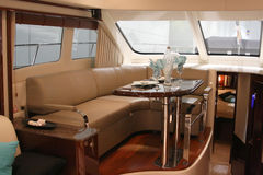 Motor yacht dining room Stock Photography