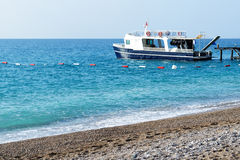 The motor yacht for diving is near pier Royalty Free Stock Images