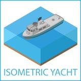 Motor Yacht flat. Rowboat isometric. Royalty Free Stock Image