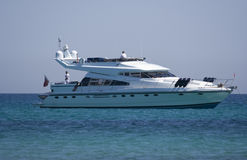 Motor yacht floating on the ocean Royalty Free Stock Image