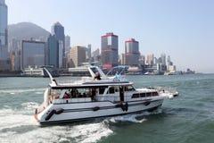 Motor yacht in Hong Kong Stock Image