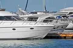 Motor yacht in jetty Stock Photos