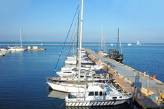 Motor yacht in jetty Stock Photography