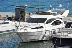 Motor yacht in jetty Royalty Free Stock Photos