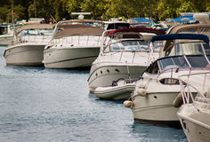 Motor yacht marina Stock Photo