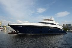 Motor yacht are moored in a parking lot at the Khimki Reservoir in Moscow. Royalty Free Stock Photos