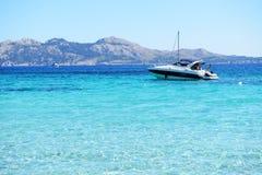 The motor yacht near beach Royalty Free Stock Photo