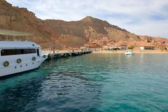 Motor yacht on Red Sea in harbor Royalty Free Stock Images