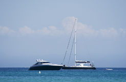 Motor yacht and sailboat. Saint-tropez, french riviera - adobe RGB royalty free stock photo