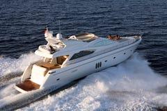 Motor yacht. Sailing air view Stock Photo