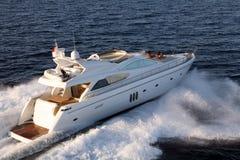 Motor yacht. Sailing air view Royalty Free Stock Image
