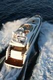 Motor yacht. Sailing air view Stock Photography