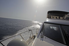 Motor yacht sailing. Over Adriaitic sea Stock Photography