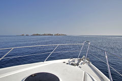 Motor yacht sailing. Over Adriaitic sea Stock Photo