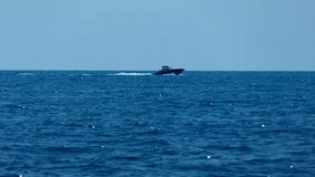 Motor yacht in the sea. Motorboat is moving rapidly along the shore. Beautiful sea nature stock video