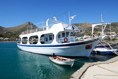 The motor yacht tour to Spinalonga island Royalty Free Stock Photography