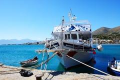 The motor yacht tour to Spinalonga island Stock Photography