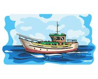 Motor yacht vector. Small vessel for tourism and recreation, stylized illustration vector illustration