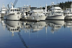 Motor Yachts. At the harbor of Stock Photos