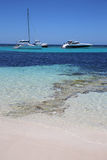Rottnest Island. Motor Yachts at the Beach on Rottnest Island in Western Australia. Rottnest Island is a small Island near Perth. Its a popular place for Royalty Free Stock Image