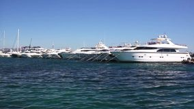 Motor yachts in the harbour stock video