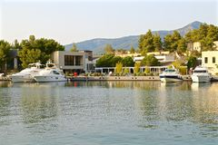 Motor yachts in the marina Stock Images