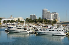 Motor Yachts in Miami Royalty Free Stock Photos