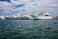 Motor yachts in the harbour Stock Photography