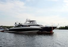 Motor yachts are moored in a parking lot at the Khimki Reservoir in Moscow. Stock Photo