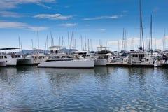 Motor yachts in ocean marina bay Royalty Free Stock Photo
