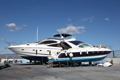 Motor yachts under maintenance Royalty Free Stock Photography