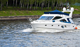 Motor yatch. Trip down the river on a motor yacht Royalty Free Stock Photo