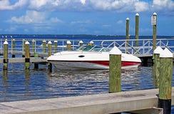 Motorbåt i Tampa Bay Arkivbild