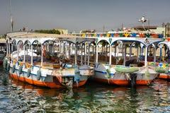 Motorbåtar på Luxor Arkivbild