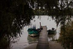 Motorbåtar vid pir i Donaudeltan Royaltyfria Foton