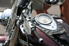Motorbike. Shining chrome motorbike with leather details Stock Image